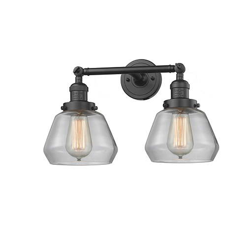 Innovations Lighting Fulton Oiled Rubbed Bronze 17-Inch Two-Light LED Bath Vanity with Clear Sphere Glass