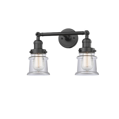Franklin Restoration Oil Rubbed Bronze 17-Inch Two-Light LED Bath Vanity with Clear Glass Shade