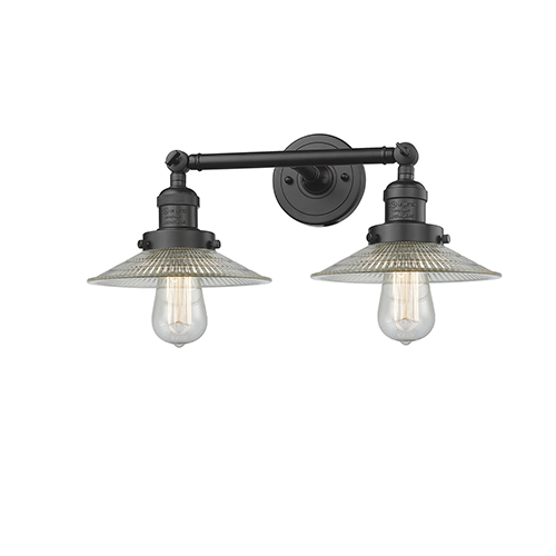 Innovations Lighting Halophane Oiled Rubbed Bronze Two-Light Bath Vanity with Halophane Cone Glass