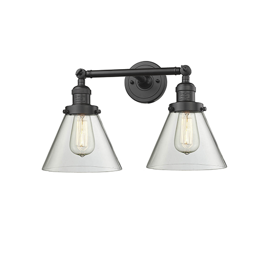 Innovations Lighting Large Cone Oiled Rubbed Bronze Two-Light LED Reversible Bath Vanity with Clear Cone Glass