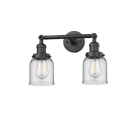 Innovations Lighting Small Bell Oiled Rubbed Bronze 16-Inch Two-Light Bath Vanity with Clear Bell Glass