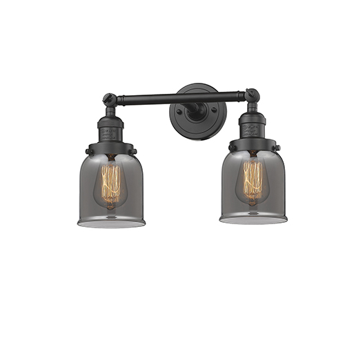 Small Bell Oiled Rubbed Bronze 16-Inch Two-Light LED Bath Vanity with Smoked Bell Glass