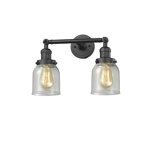 Innovations Lighting Small Bell Oiled Rubbed Bronze 16-Inch Two-Light LED Bath Vanity with Seedy Bell Glass