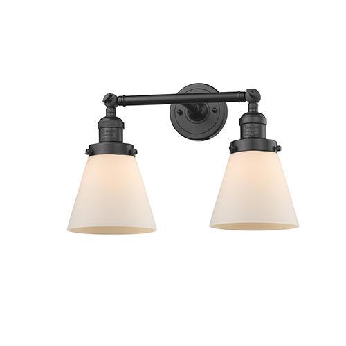 Innovations Lighting Small Cone Oiled Rubbed Bronze 16-Inch Two-Light LED Bath Vanity with Matte White Cased Cone Glass