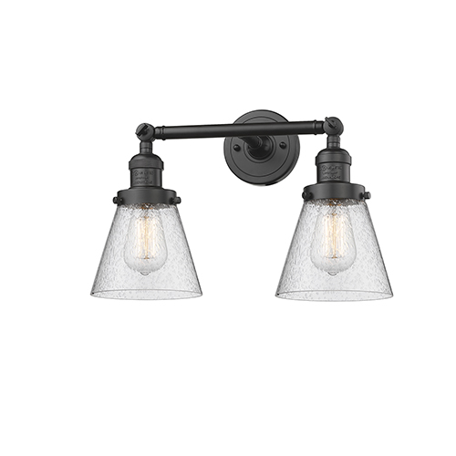 Small Cone Oiled Rubbed Bronze 16-Inch Two-Light LED Bath Vanity with Seedy Cone Glass