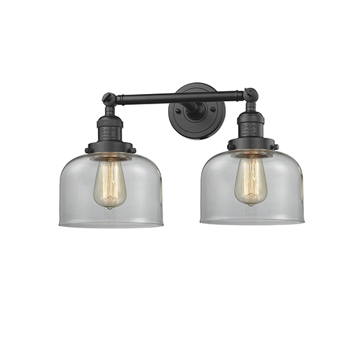 Innovations Lighting Large Bell Oiled Rubbed Bronze 19-Inch Two-Light LED Bath Vanity with Clear Dome Glass
