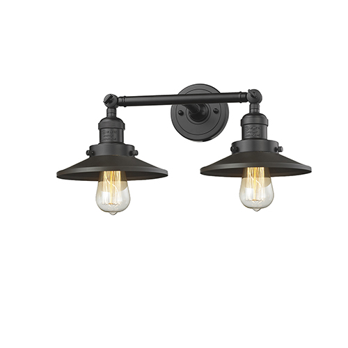 Railroad Oiled Rubbed Bronze Two-Light Bath Vanity