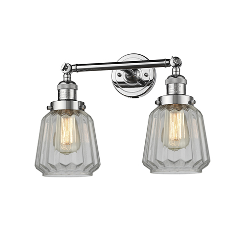 Innovations Lighting Chatham Polished Chrome Two-Light Bath Vanity with Clear Fluted Novelty Glass