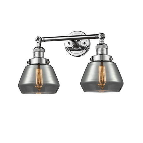 Innovations Lighting Fulton Polished Chrome Two-Light Bath Vanity with Smoked Sphere Glass