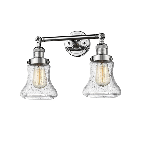 Innovations Lighting Bellmont Polished Chrome Two-Light LED Bath Vanity with Seedy Hourglass Glass