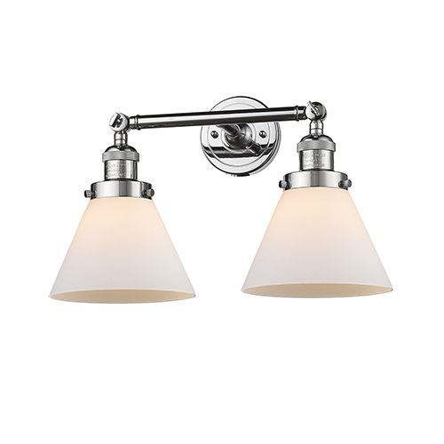 Innovations Lighting Large Cone Polished Chrome Two-Light Bath Vanity with Matte White Cased Cone Glass