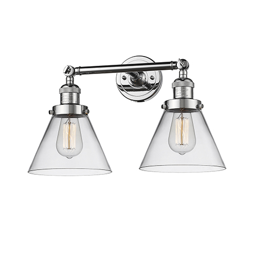 Innovations Lighting Large Cone Polished Chrome Two-Light Bath Vanity with Clear Cone Glass
