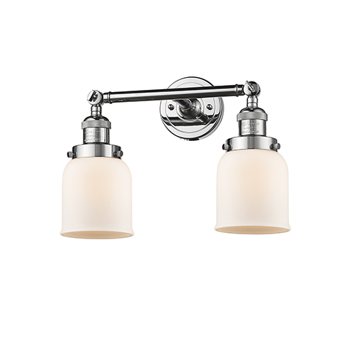 Small Bell Polished Chrome Two-Light Bath Vanity with Matte White Cased Bell Glass