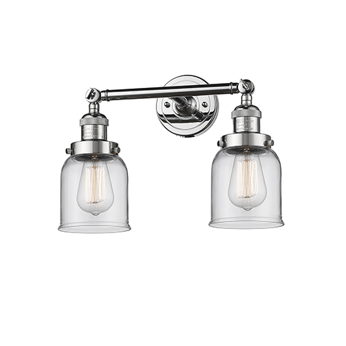 Small Bell Polished Chrome Two-Light Bath Vanity with Clear Bell Glass
