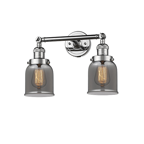 Small Bell Polished Chrome Two-Light Bath Vanity with Smoked Bell Glass