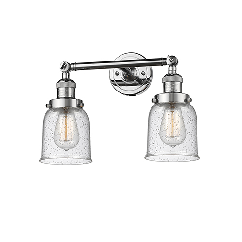 Innovations Lighting Small Bell Polished Chrome Two-Light LED Bath Vanity with Seedy Bell Glass