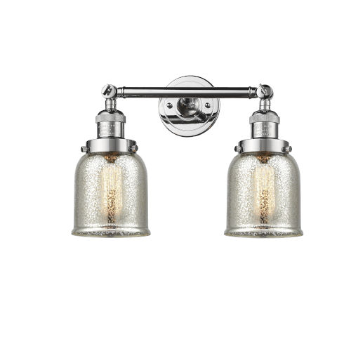 Small Bell Polished Chrome Two-Light Bath Vanity