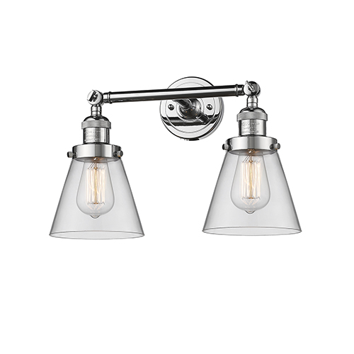 Small Cone Polished Chrome Two-Light Bath Vanity with Clear Cone Glass