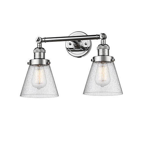 Innovations Lighting Small Cone Polished Chrome Two-Light Bath Vanity with Seedy Cone Glass