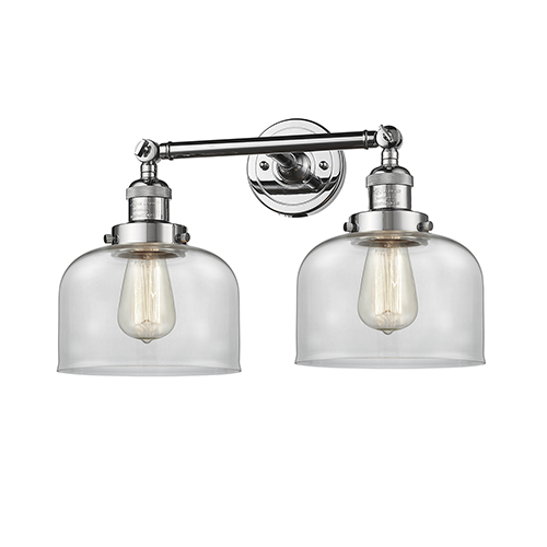 Innovations Lighting Large Bell Polished Chrome Two-Light Bath Vanity with Clear Dome Glass