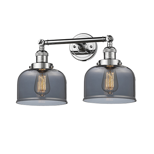 Innovations Lighting Large Bell Polished Chrome Two-Light LED Bath Vanity with Smoked Dome Glass