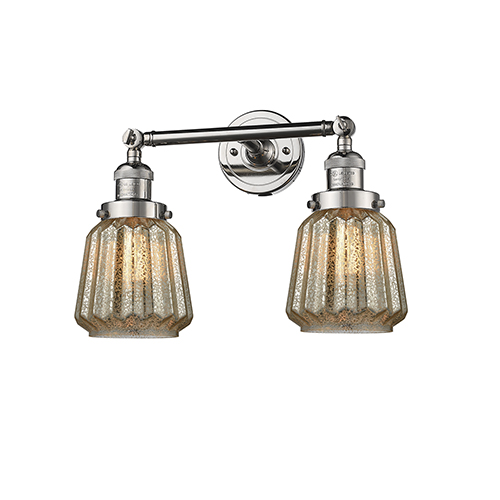Innovations Lighting Chatham Polished Nickel Two-Light Bath Vanity with Mercury Fluted Novelty Glass