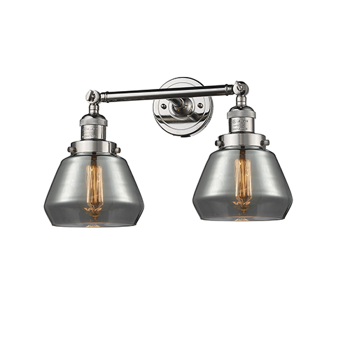 Innovations Lighting Fulton Polished Nickel Two-Light Bath Vanity with Smoked Sphere Glass