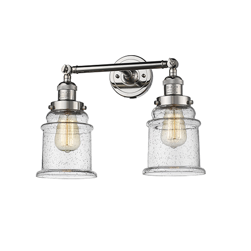 Innovations Lighting Canton Polished Nickel Two-Light LED Bath Vanity with Seedy Bell Glass
