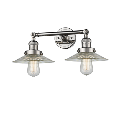 Innovations Lighting Halophane Polished Nickel Two-Light Bath Vanity with Halophane Cone Glass