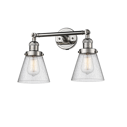 Small Cone Polished Nickel Two-Light LED Bath Vanity with Seedy Cone Glass