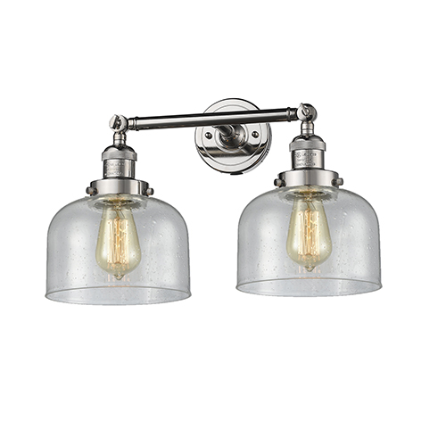 Innovations Lighting Large Bell Polished Nickel Two-Light LED Bath Vanity with Seedy Dome Glass