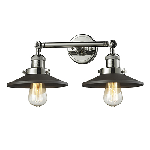 Railroad Polished Nickel Two-Light LED Wall Sconce with Matte Black Metal Shade