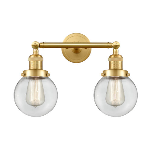 Franklin Restoration Satin Gold 17-Inch Two-Light LED Bath Vanity with Clear Glass Shade