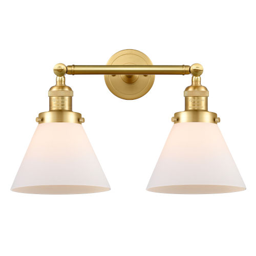 Franklin Restoration Satin Gold 18-Inch Two-Light LED Bath Vanity with Matte White Glass Shade