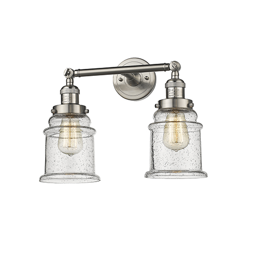 Canton Brushed Satin Nickel 17-Inch Two-Light Bath Vanity with Seedy Bell Glass