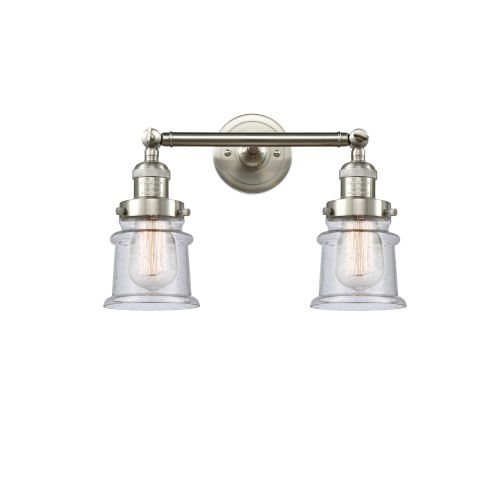 Franklin Restoration Brushed Satin Nickel 17-Inch Two-Light Bath Vanity with Seedy Glass Shade