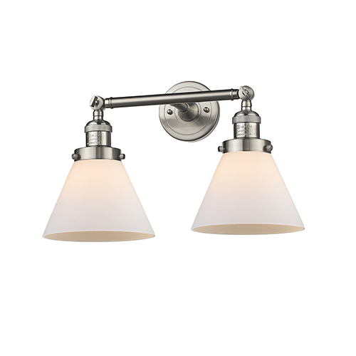 Innovations Lighting Large Cone Brushed Satin Nickel Two-Light Reversible Bath Vanity with Matte White Cased Cone Glass