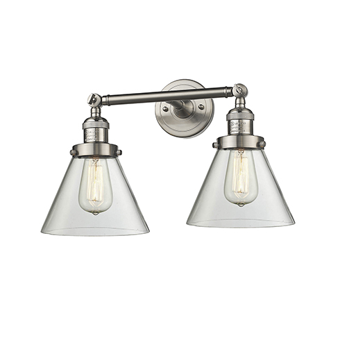 Innovations Lighting Large Cone Brushed Satin Nickel Two-Light LED Reversible Bath Vanity with Clear Cone Glass