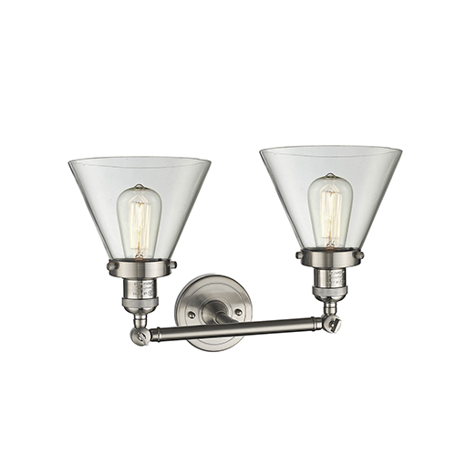 Large Cone Brushed Satin Nickel Two-Light Reversible Bath Vanity with Clear Cone Glass