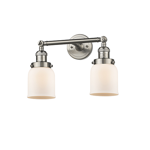 Innovations Lighting Small Bell Brushed Satin Nickel 16-Inch Two-Light Bath Vanity with Matte White Cased Bell Glass
