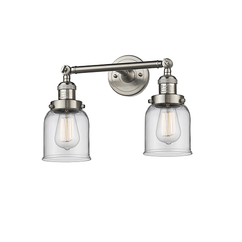 Innovations Lighting Small Bell Brushed Satin Nickel 16-Inch Two-Light Bath Vanity with Clear Bell Glass