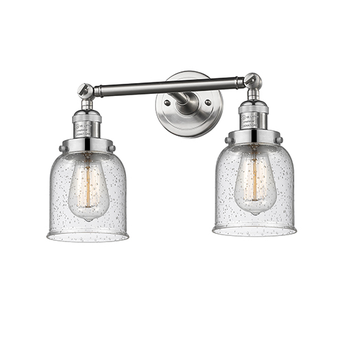 Innovations Lighting Small Bell Brushed Satin Nickel 16-Inch Two-Light Bath Vanity with Seedy Bell Glass