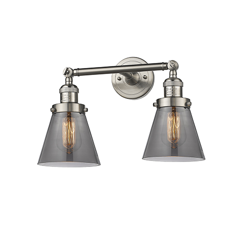 Innovations Lighting Small Cone Brushed Satin Nickel 16-Inch Two-Light Bath Vanity with Smoked Cone Glass
