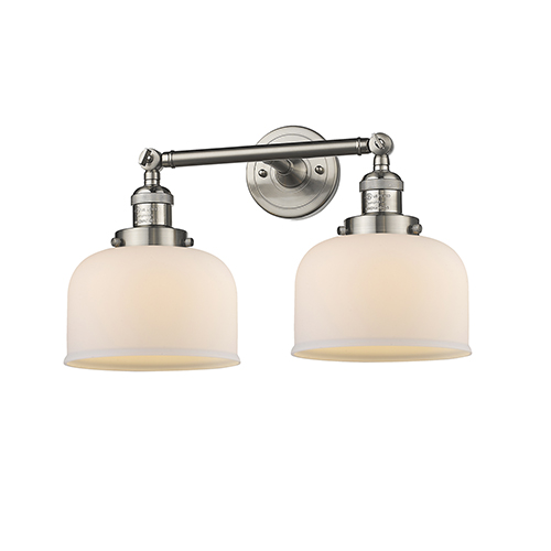 Innovations Lighting Large Bell Brushed Satin Nickel 19-Inch Two-Light Bath Vanity with Matte White Cased Dome Glass