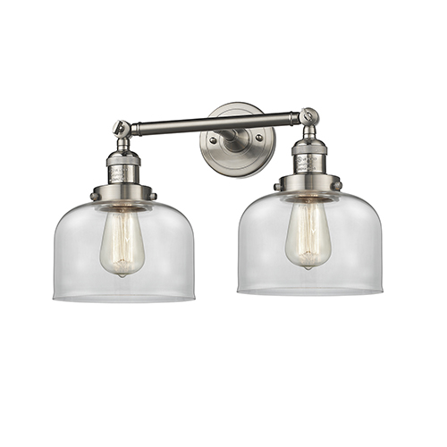 Large Bell Brushed Satin Nickel 19-Inch Two-Light LED Bath Vanity with Clear Dome Glass