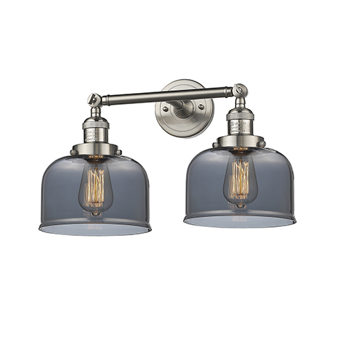 Innovations Lighting Large Bell Brushed Satin Nickel 19-Inch Two-Light LED Bath Vanity with Smoked Dome Glass