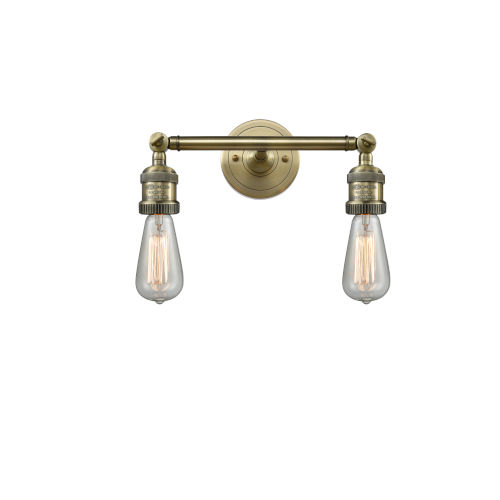 Bare Bulb Antique Brass Two-Light LED Bath Vanity