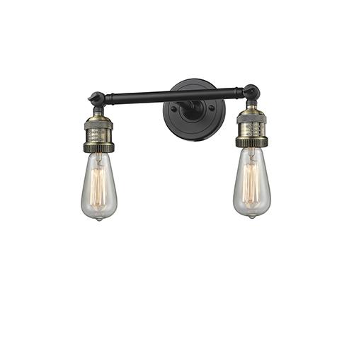 Innovations Lighting Bare Bulb Black Antique Brass 11-Inch Two-Light Bath Vanity