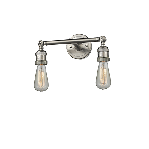 Innovations Lighting Bare Bulb Brushed Satin Nickel 11-Inch Two-Light Bath Vanity