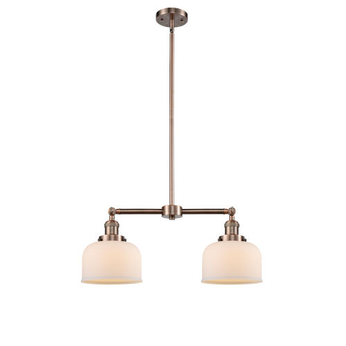 Large Bell Antique Copper 21-Inch Two-Light LED Chandelier